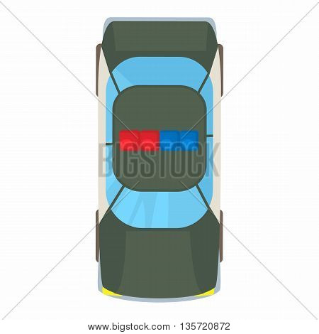Police car top view icon in cartoon style on a white background