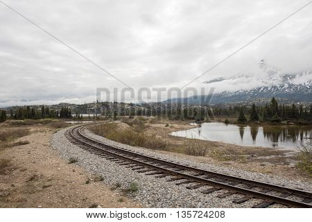 Image of barren landscape with serpentine train tracks next to small reflecting pond, with snow and mist-topped mountains in the background.