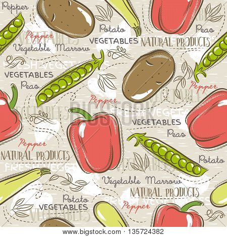Background with potato pepper carrot. Ideal for printing onto fabric and paper or scrap booking.