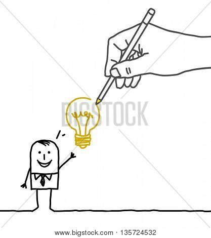 Drawing big hand and  businessman - new idea !