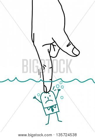 Big hand and  businessman - pushing under water