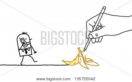 Drawing big hand and  businessman - banana peel