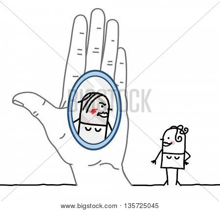Big hand and character - reflection in the mirror