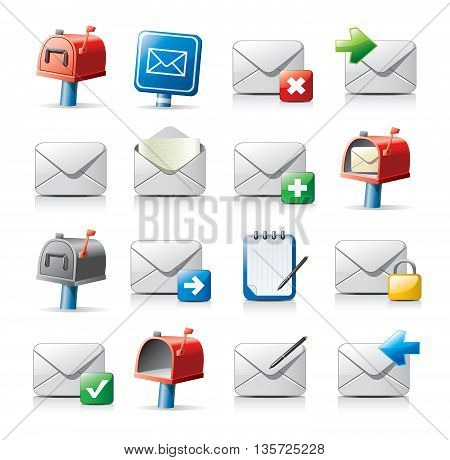 Set of 16 vector messaging related icons