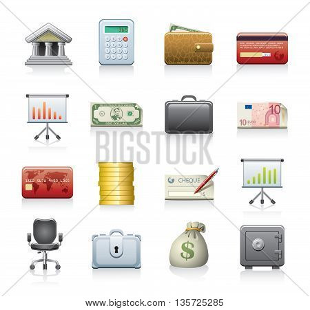 Vector set of 16 banking icons isolated on white background.