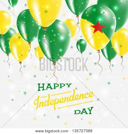 French Guiana Vector Patriotic Poster. Independence Day Placard With Bright Colorful Balloons Of Cou