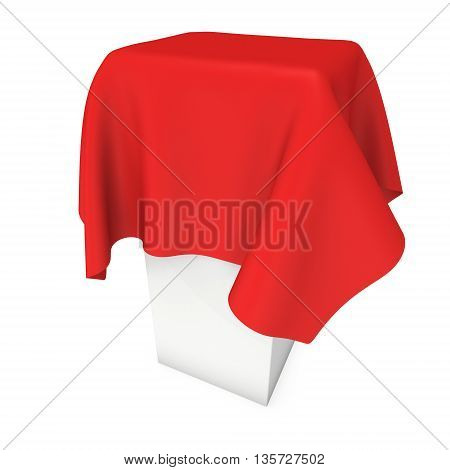 Presentation pedestal covered with a red cloth. Place for award or prize cover by cloth. 3d render illustration isolated on white.