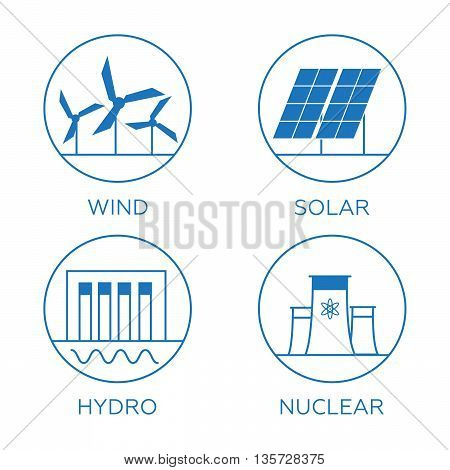 Generation energy types. Power plant icons vector set eps110