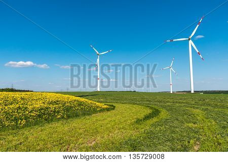 Windengines in the fields seen in rural Germany