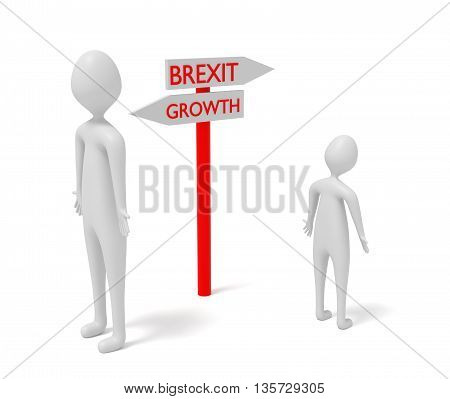 Brexit and growth: guidepost with 3d men 3d illustration