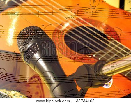 guitar,microphone and notes