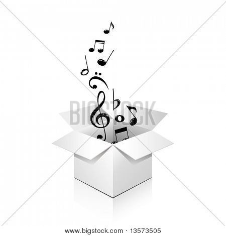 gift box full of notes, over white, isolated poster