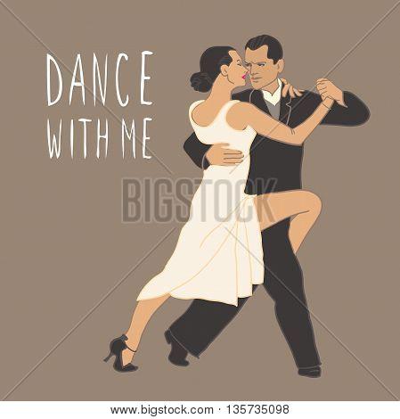 Tango. Dancing couple People isolated Dance class