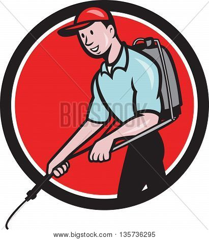Illustration of a pest control exterminator spraying viewed from the side set inside circle on isolated background done in cartoon style.