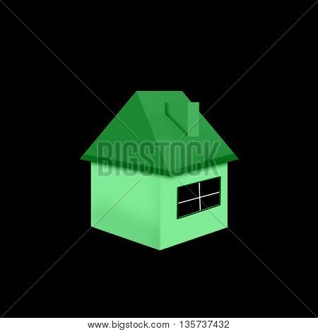Green ecological house isolated on black background