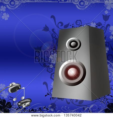 Speakers and headphones on blue background with floral grunge shapes