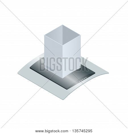 Extractor hood for kitchen vector illustration isolated on white background. Extractor hood icon. Flat 3d isometric illustration
