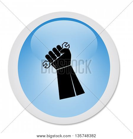 illustration of icon isolated in a modern style, depicting a hand holding a wrench on button shape