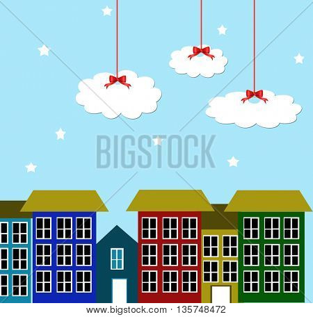 City and blue sky with white clouds hanged on red  ribbons