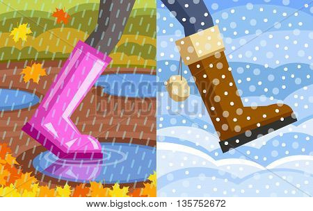 Legs of walking person. One foot with rubber shoe, puddles at background, rain at foreground; another foot with winter shoe, snowdrifts at background, snow at foreground. Step from autumn to winter