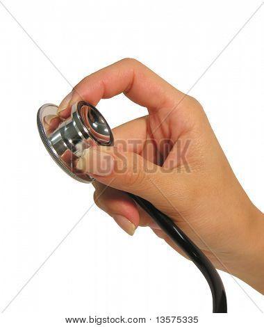 A photo of a nurse with a stethoscope