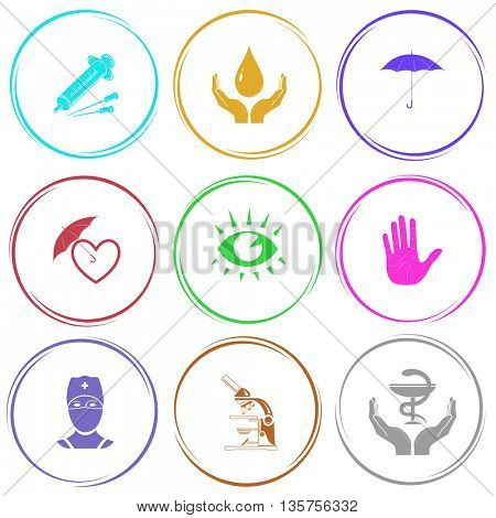 9 images: syringe, protection blood, umbrella, protection love, eye, stop hand, doctor, lab microscope, pharma symbol in hands. Medical set. Internet button. Vector icons.