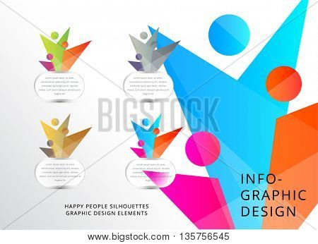 HAPPY PEOPLE SILHOUETTES , INFOGRAPHIC DESIGN ELEMENTS , VECTOR COLLECTION IN VARIOUS COLORS