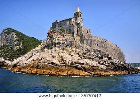 view by the sea Portovenere castle on the cliff