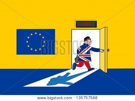 Brexit Concept. Man in British Suit goes out from a European Union Room. Editable Clip art.