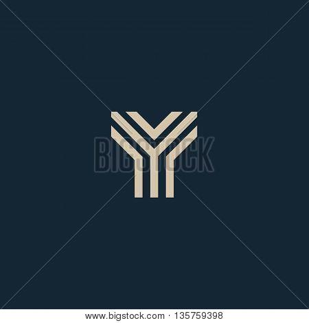 Unusual geometric letter Y. Architecture vector logo. Isolated monogram