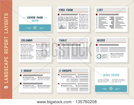 Report Layouts, Document Templates, Landscape Orientation, Vector Set