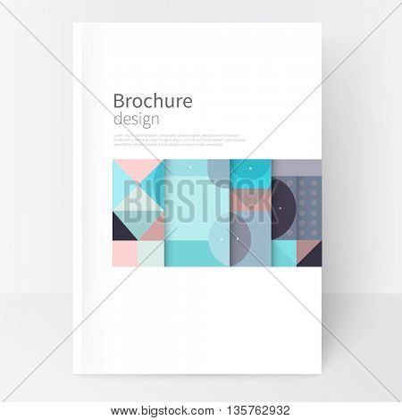 Minimalistic cover template. Book design creative concept  cover for catalogue, report, brochure. Pastel color turquoise, violet & pink abstract geometric shapes. Squares, triangles and circles