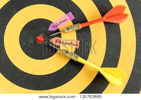 Alphabet letters handwriting solution integration with dart target near bullseye over dartboard background, abstract data concept