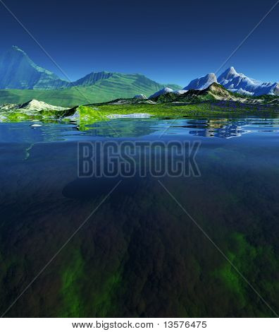 A rendering of a beautiful landscape