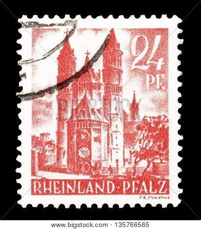RHEINLAND - CIRCA 1948 : Cancelled postage stamp printed by Rheinland, that shows castle.