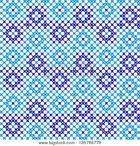 Seamless embroidered texture of abstract geometric flat blue patterns, cross-stitch