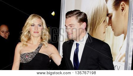 Kate Winslet and Leonardo DiCaprio at the World premiere of 'Revolutionary Road' held at the Mann Village Theater in Westwood, USA on August 15, 2008.