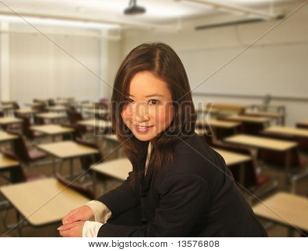 A photo of a business student in class