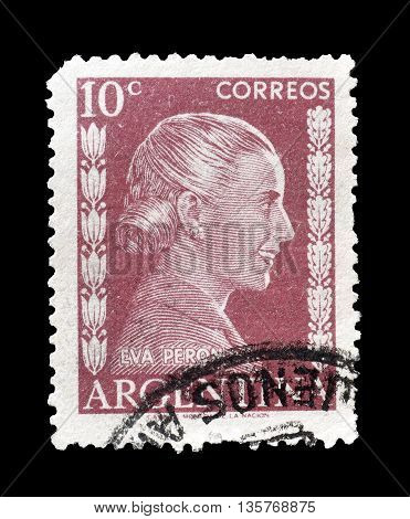 ARGENTINA - CIRCA 1952 : Cancelled postage stamp printed by Argentina, that shows Eva Peron.