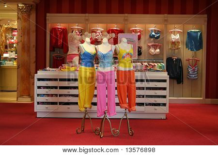 A photo of colorful lingerie in a store