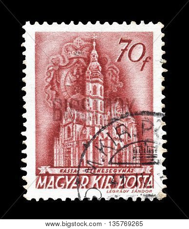 HUNGARY - CIRCA 1939 : Cancelled postage stamp printed by Hungary, that shows Cathedral of Cassa.