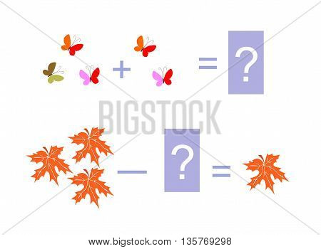 Cartoon illustration of mathematical addition and subtraction. Examples with butterflies and maple leaves. Educational game for children.