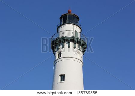 Wind Point Lighthouse in the Racine, Wisconsin Area on a beautiful clear blue sky day