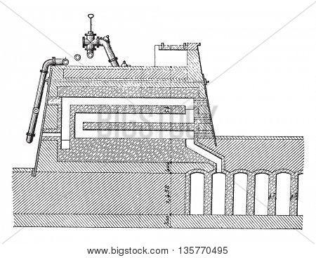 Furnace coke, Carves system, Longitudinal section, vintage engraved illustration. Industrial encyclopedia E.-O. Lami - 1875.