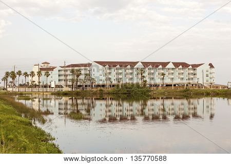 Vacation condominiums building at the Gulf of Mexico in Galveston Island. Texas United States