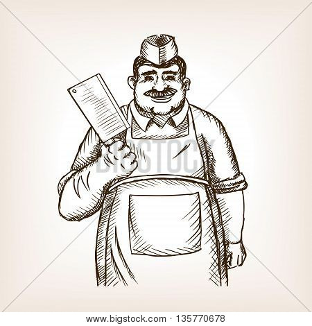 Butcher with knife sketch style vector illustration. Old hand drawn engraving imitation.