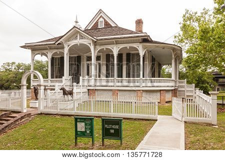 HOUSTON USA - APR 12: The 1868 Pillot House at the Sam Houston Park. April 12 2016 in Houston Texas United States