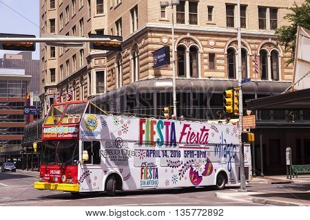 SAN ANTONIO USA - APR 11: Sightseeing bus in the city of San Antonio Texas. April 11 2016 in San Antonio Texas United States