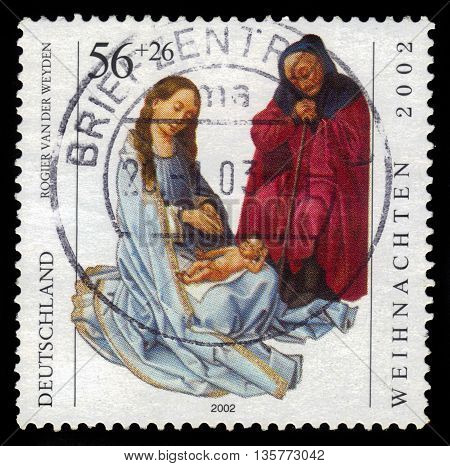 GERMANY - CIRCA 2002: a stamp printed in the Germany  shows  Holy Family, painting by Rogier van der Weyden, circa 2002