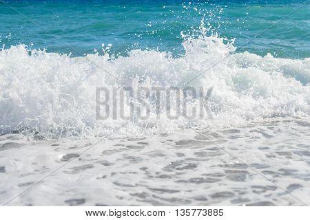 beautiful waves of the blue seafoam photo
